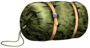 Camouflage sleeping bag on white Royalty Free Stock Photos