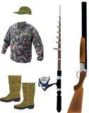 Camouflage sportswear for hunting and fishing royalty free illustration