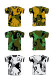 Camouflage t-shirt. Front and Back views of a t-shirt created in Adobe Illustrator. AI vector. Size and color can be changed. Camouflage t-shirt Royalty Free Stock Photos