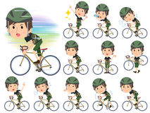 Camouflage T-shirt half pants men ride on rode bicycle. Set of various poses of Camouflage T-shirt half pants men ride on rode bicycle Stock Photo