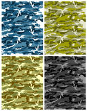 Camouflage texture vector. Four different colors camouflage texture vector stock illustration