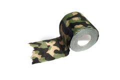 Camouflage toilet paper. Toilet paper camouflage color on white background Royalty Free Stock Images