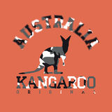 Camouflage typography for clothes with kangaroo silhouette and lettering Australia, kangaroo, original Stock Photography