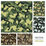 Camouflage. Vector illustration. Picture of the five patterns of camouflage in  design Stock Images