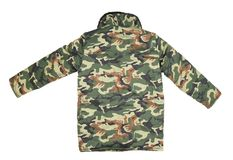 Camouflage winter jacket. Back view Stock Photo