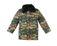Camouflage winter jacket with black collar. Stock Image