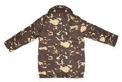 Camouflage winter jacket with black collar. Stock Photography