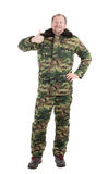 Camouflage winter jacket with black collar. Stock Photos