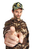 Camouflaged. A man dressed with camouflaged uniform giving a command Stock Photos