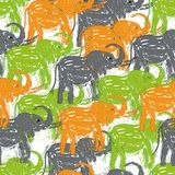 Camouflaged background with Abstract hand-drawn Elephants vector. Seamless  pattern Royalty Free Stock Photo