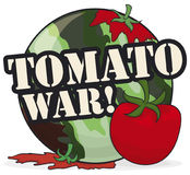 Camouflaged Button and Tomatoes to Celebrate a Funny Tomato War, Vector Illustration Stock Photography