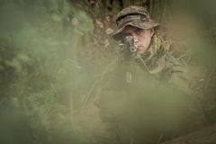 Camouflaged commando assault Royalty Free Stock Photography