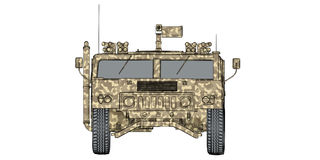 Camouflaged 3d render front view of humvee military vehicle Stock Images