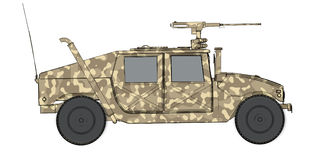 Camouflaged 3d render side view of humvee military vehicle Royalty Free Stock Images