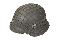 Camouflaged german army helmet World War II period Stock Photo