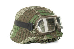 Camouflaged helmet with protective goggles Stock Photos