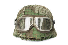 Camouflaged helmet with protective goggles Royalty Free Stock Photo
