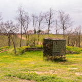 Camouflaged hut used to hunt migratory birds. Stock Photo