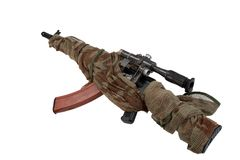 Camouflaged kalashnikov AK with sniper scope Stock Images