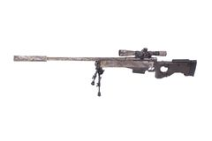 Camouflaged modern sniper rifle with scope Royalty Free Stock Image