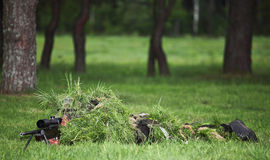 Camouflaged sniper Royalty Free Stock Photography