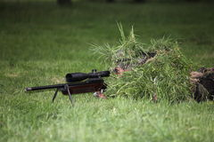 Camouflaged sniper Royalty Free Stock Image