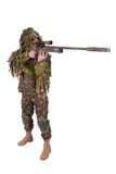 Camouflaged sniper in ghillie suit. Isolated on white Royalty Free Stock Photos