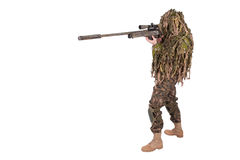 Camouflaged sniper in ghillie suit. Isolated on white Stock Photos