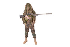 Camouflaged sniper in ghillie suit. Isolated on white Royalty Free Stock Photo