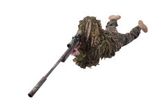 Camouflaged sniper in ghillie suit. Isolated on white Royalty Free Stock Image