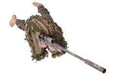 Camouflaged sniper in ghillie suit. Isolated on white Royalty Free Stock Photography