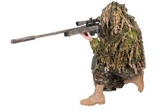 Camouflaged sniper in ghillie suit. Isolated on white background Stock Photo