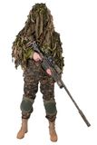 Camouflaged sniper in ghillie suit. Isolated on white background Stock Images