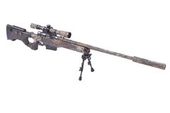 Camouflaged sniper rifle with scope Royalty Free Stock Photo