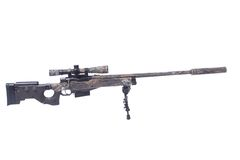 Camouflaged sniper rifle with scope Royalty Free Stock Images