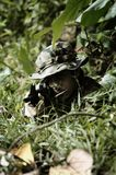Camouflaged soldier in the bushes royalty free stock photo