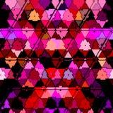Camouflez le modèle continu de triangle dans rose brillant, rouge, des couleurs de grenadine, effet de disco de 80s Images libres de droits