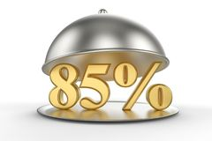 Campânula do restaurante com 85 por cento dourados fora do sinal ilustração royalty free