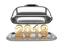 Campânula do restaurante do quadrado aberto com texto 2018 Imagens de Stock Royalty Free