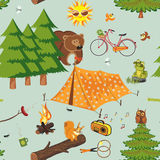 Camp. Summer camping pattern in a retro style - vector illustration Royalty Free Stock Image