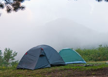 Camp. Hikers camp in Crimea mountains stock images
