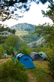 Camp. Hikers camp in Crimea mountains Stock Photo