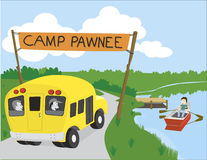 Camp. Vector illustration of a bus arriving at camp stock illustration
