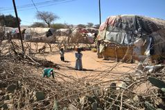Camp for African refugees and displaced people on the outskirts of Hargeisa in Somaliland under UN auspices Royalty Free Stock Photo