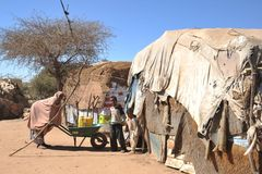Camp for African refugees and displaced people on the outskirts of Hargeisa in Somaliland under UN auspices. HARGEISA, SOMALIA : Camp for African refugees and Stock Images