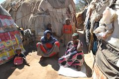 Camp for African refugees and displaced people on the outskirts of Hargeisa in Somaliland under UN auspices. Stock Photo