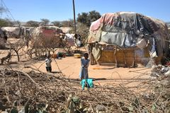 Camp for African refugees and displaced people on the outskirts of Hargeisa in Somaliland under UN auspices. Royalty Free Stock Photo