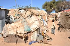 Camp for African refugees and displaced people on the outskirts of Hargeisa in Somaliland under UN auspices. Stock Photos