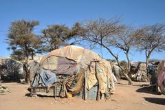 Camp for African refugees and displaced people on the outskirts of Hargeisa in Somaliland under UN auspices. HARGEISA, SOMALIA : Camp for African refugees and royalty free stock photography