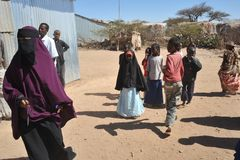 Camp for African refugees and displaced people on the outskirts of Hargeisa in Somaliland under UN auspices. Stock Images